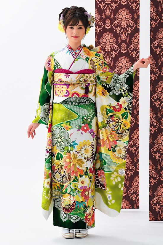 振袖舞姫 MC385-黄緑